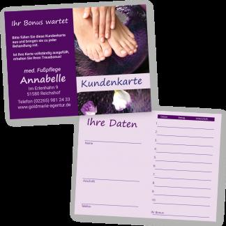 Maniküre und Pediküre Kundenkarte HAND & FUSS (Querformat)
